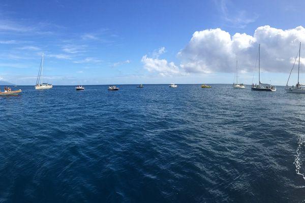 Une vingtaine de bateaux a participé à la cérémonie en hommage à Laurent Bourgnon