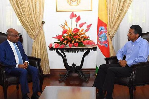 Rencontre Minstre des Affaires étrangères des Maldives et le président des Seychelles JIOI 2023