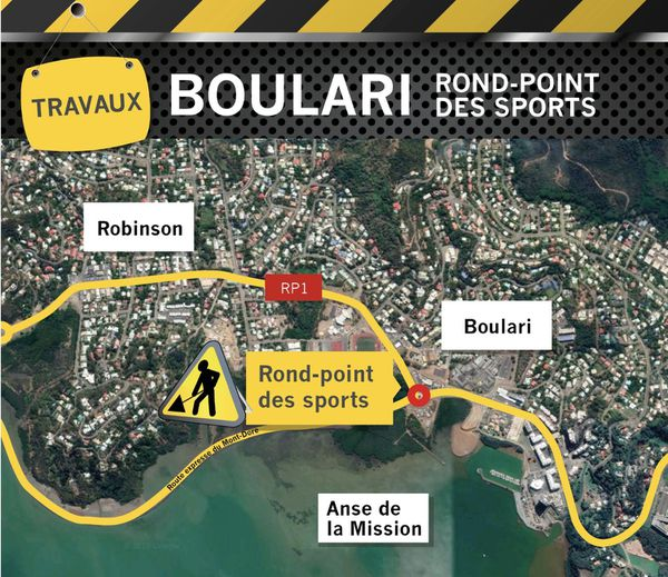 Carte de travaux au rond-point des Sports, septembre 2019