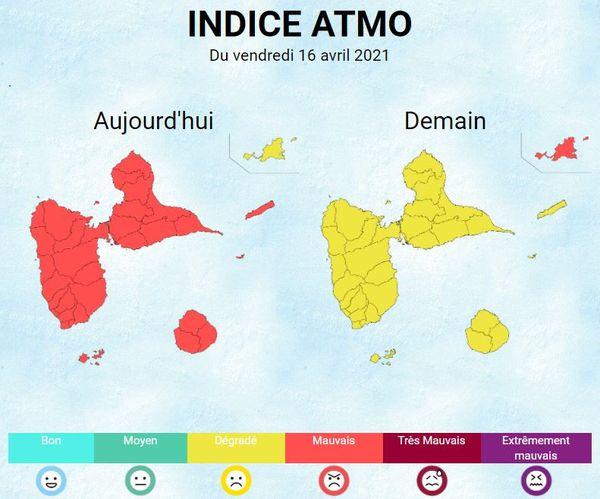 Qualité de l'air des 16 et 17 avril 2021