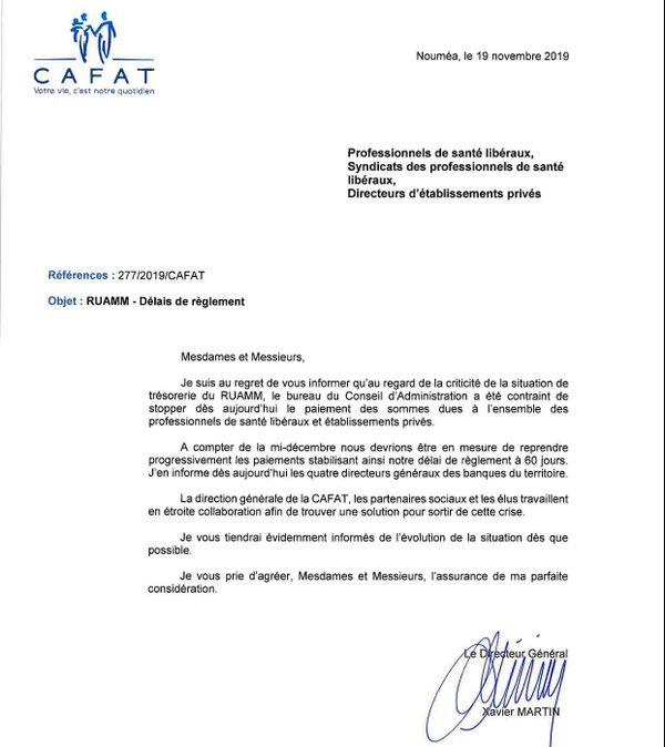 Courrier de la Cafat aux libéraux de santé et établissements privés