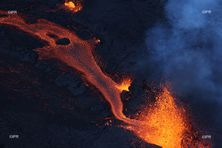 Eruption du Piton de la Fournaise, samedi 10 avril 2021.