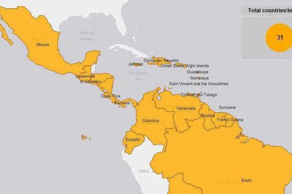 Circulation du Zika dans la Zone Amériques au 25 février 2016