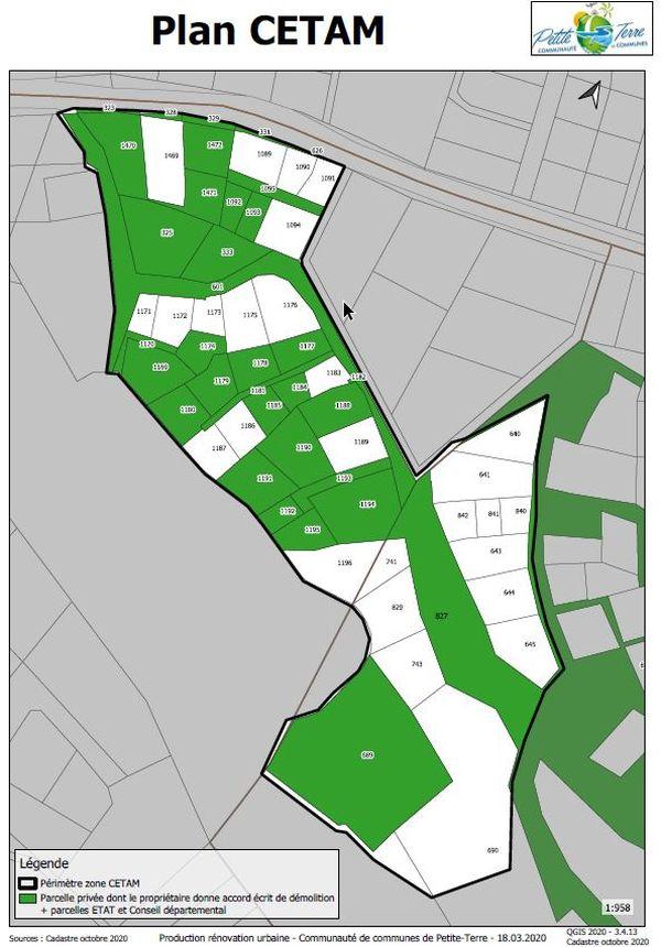 En vert, les trente parcelles de terrain concernées par l'opération de destruction à Labattoir