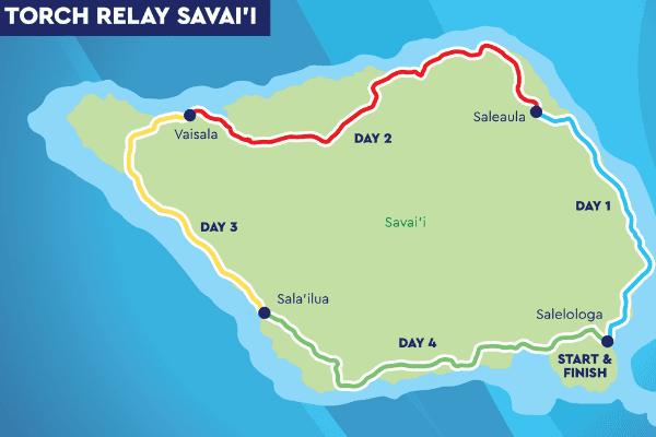 Samoa : parcours de la flamme (1er jour)