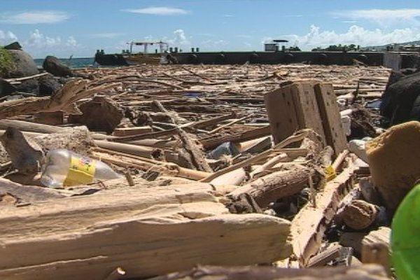 Le port a sec envahi par les déchets déversés par les intepéries