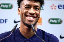 Kingsley Coman lors d'une conférence de presse de l'équipe de France pendant l'Euro 2020/
