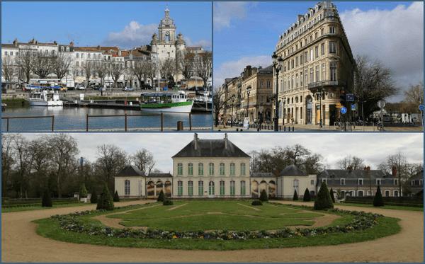 Vues de La Rochelle (en haut à gauche), Bordeaux (en haut à droite) et Nantes (en bas).