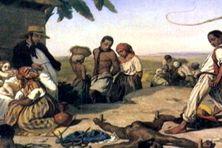 Scène de châtiment d'un esclave avant 1848 à la Martinique