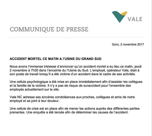 VALE- NC : communiqué de presse sur l'accident mortel