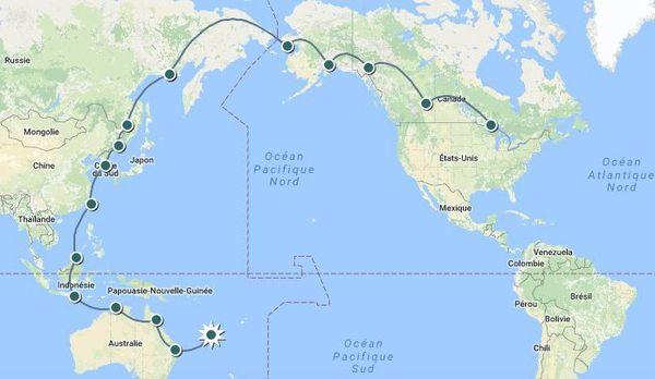 Itinéraire du deuxième tour du monde de Hugues Jurion