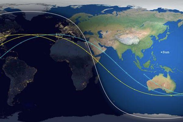 Trajectoire prévue fusée chinoise Long March 5B