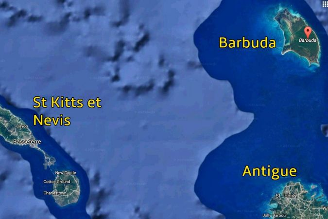 L'ile de Barbuda, 1600 habitants © Google Map
