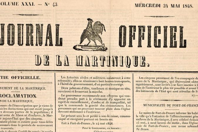 Le Journal Officiel de la Martinique du 24 mai 1848. © DR