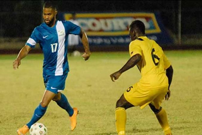 Kévin Parsemain, attaquant de la sélection de Martinique (match Antigue /Martinique en novembre 2014) © Concacaf