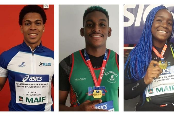 Aymeric Priam (RCM), champion de France junior du 60m, William Cadenat (Us Robert), champion de France junior du lancer de poids et Tamera Manette championne de France lancer de poids. © V.M-J