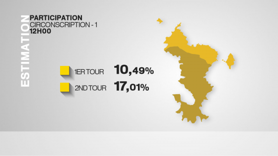 #LegislativePartielle : Taux de participation à 12h (source Mayotte la 1ère)