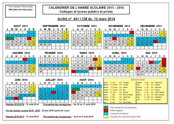 Le calendrier scolaire 2014 2015 DOM TOM