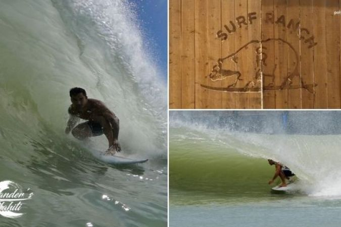 Le surfeur Michel Bourez sur la vague artificielle du Surf Ranch de Kelly Slater. © Polynésie La 1ère