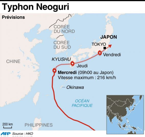 Infographie Typhon Neoguri © INFOGRAPHIE PP/AHU / AFP