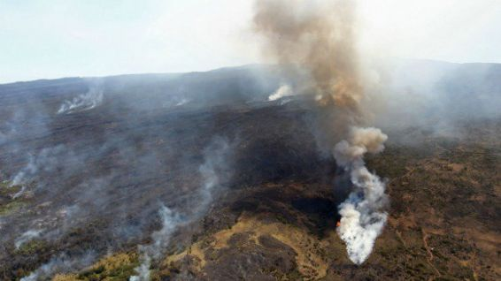 Les incendies du Maïdo en 2011 à La Réunion. © RICHARD BOUHET / AFP