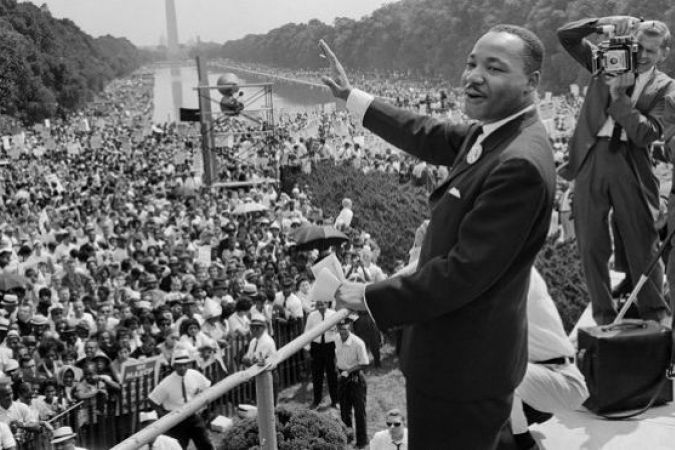 Martin Luther King Jr., le 28 août 1963 durant son célèbre discours devant le Lincoln Memorial à Washington D.C. © AFP