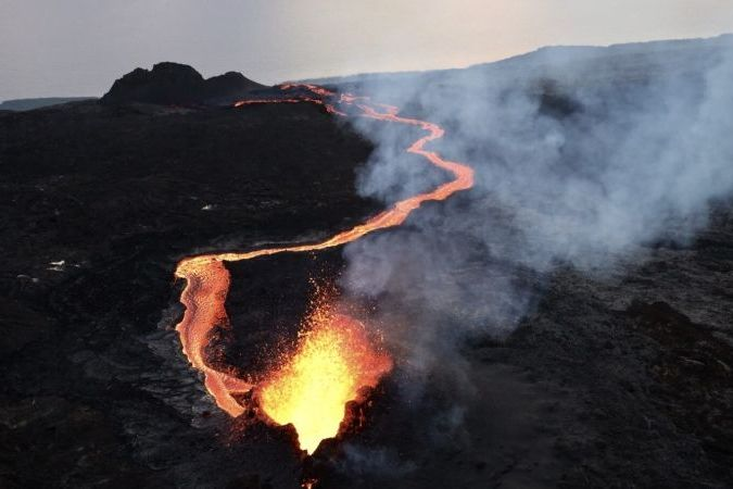 Le Piton de la Fournaise en éruption, 20 février 2019. © Richard Bouhet / Imaz Press